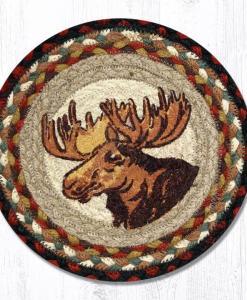 "Moose Portrait 10"" Round Braided Trivet"