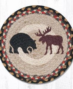 "Moose & Bear 10"" Round Braided Trivet"