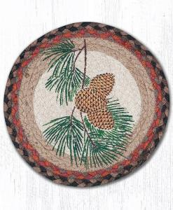 "Pinecone 10"" Round Braided Trivet"