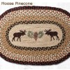 Moose and Pinecone 20 x 30 Oval Braided Jute Rug