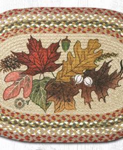 Autumn Leaves 20 x 30 Oval Braided Jute Rugs