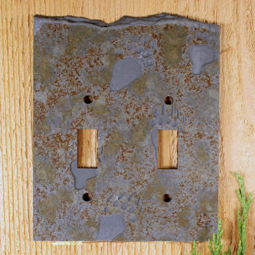 Slate Switch Plate Black Bear Paw Collection