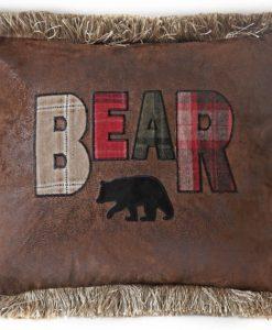Bear Plaid Text Pillow
