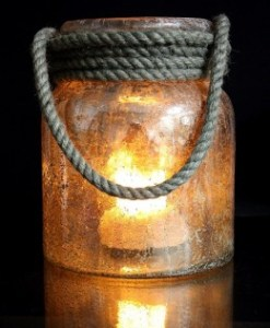 "Mercury Rope Lantern 7""W X 9""H Including The Flame Wave"