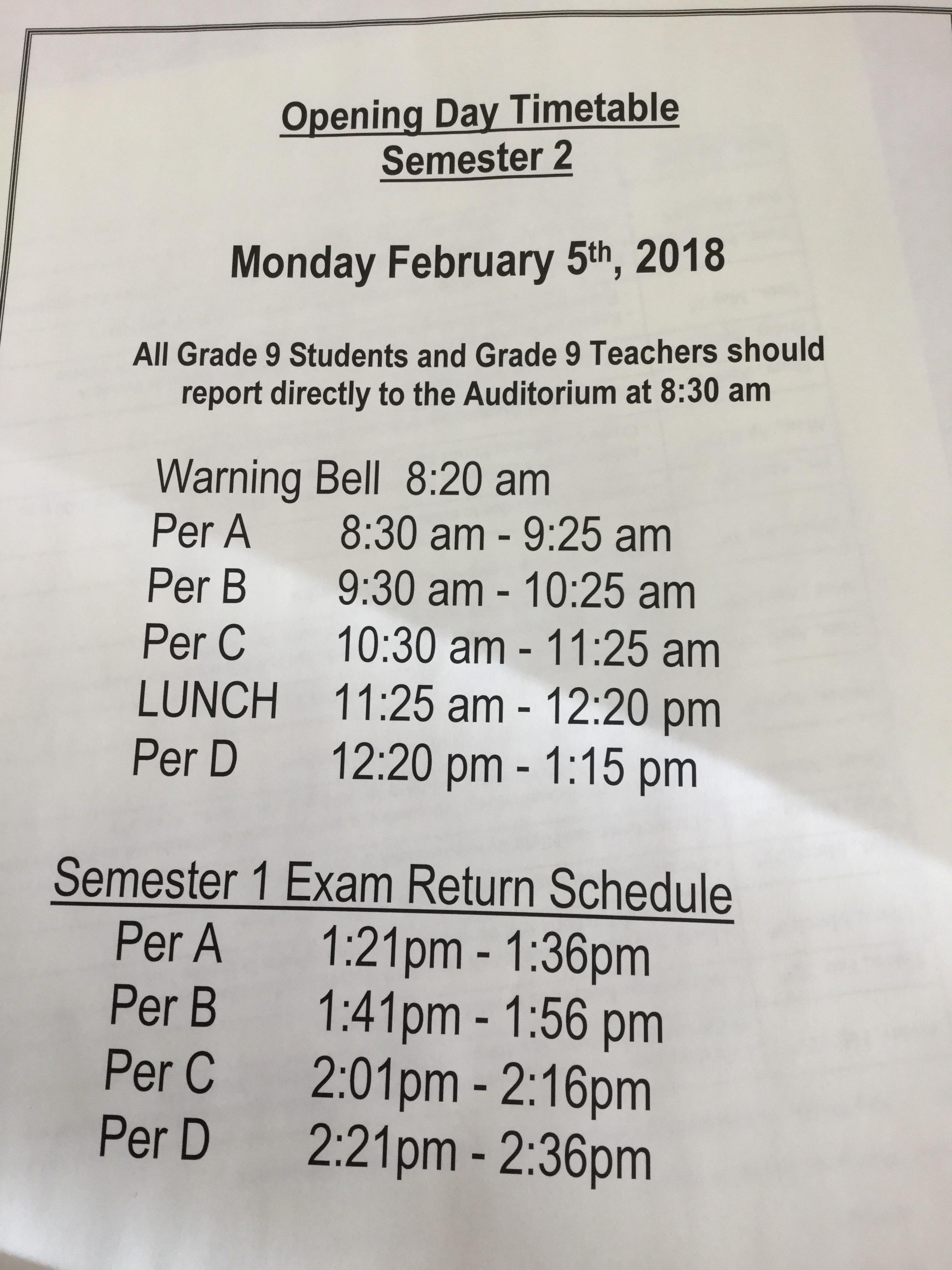 First Day Schedule