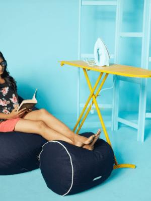 denim beanbag with footstool
