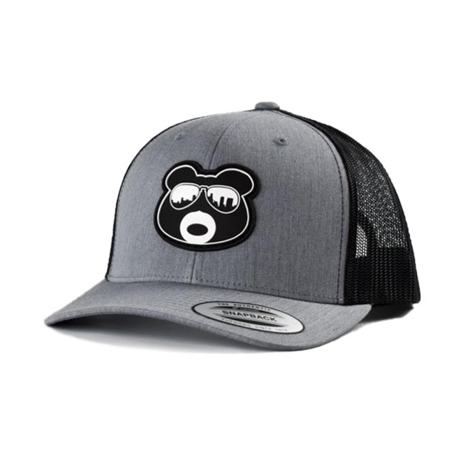 BearThug Snapback Ball Caps - Heather Grey/Black Mesh (PVC Patch)
