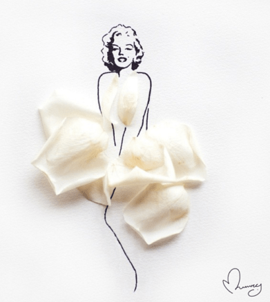 Marilyn Monroe Dressed by Flowers - by Arteide - be artist be art