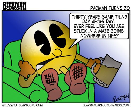 Bearman Cartoon Pacman turns 30