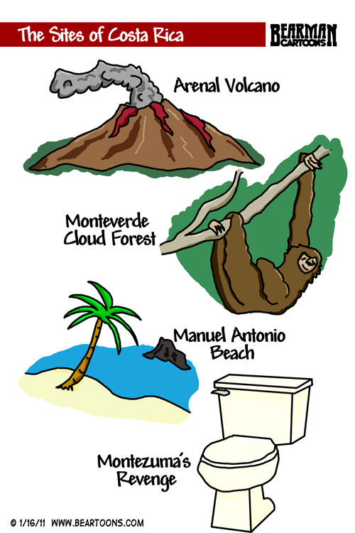 Sites of Costa Rica Cartoon