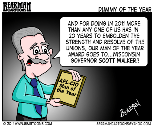Editorial Cartoon: Scott Walker Union