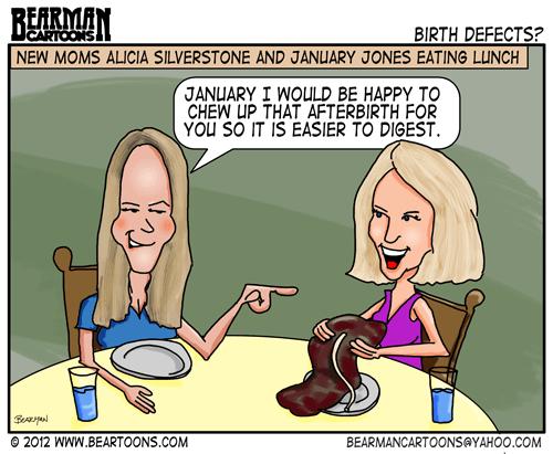Editorial Cartoon: Celebrity Moms Alicia Silverstone and January Jones