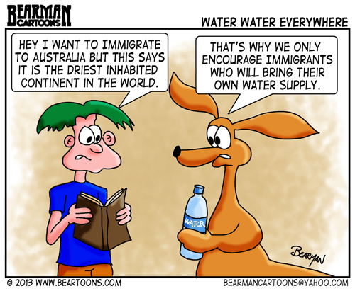 Australia Immigration and Water Shortage by Bearman Cartoons