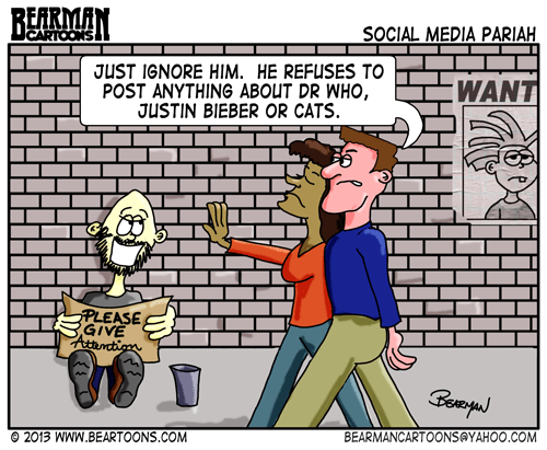 Social Media Pariah Cartoon by Bearman Cartoons