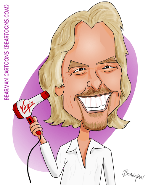 Richard Branson Caricature by Bearman Cartoons