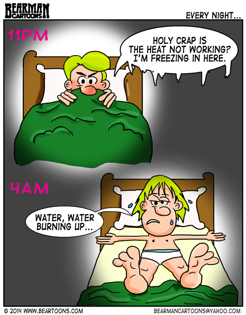 Bearman Cartoons Hot and Cold in Bed Internal Thermostat