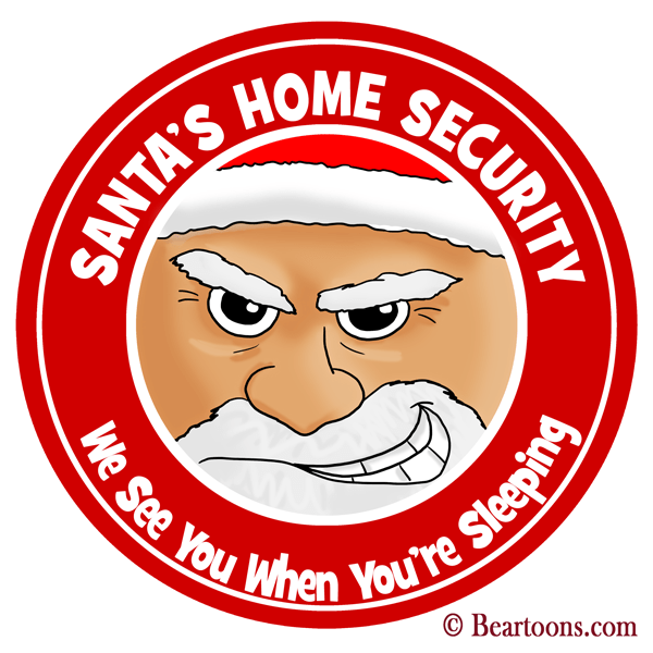 Santa-Claus-Home-Security-10x10-Bearman-Cartoons