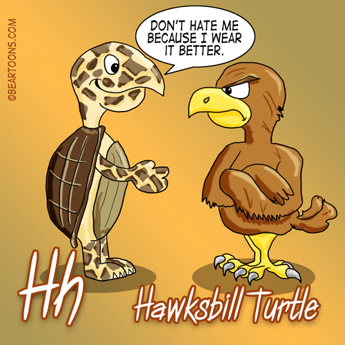 H is for Hawksbill Turtle. Animal Alphabets by Bearman cartoons
