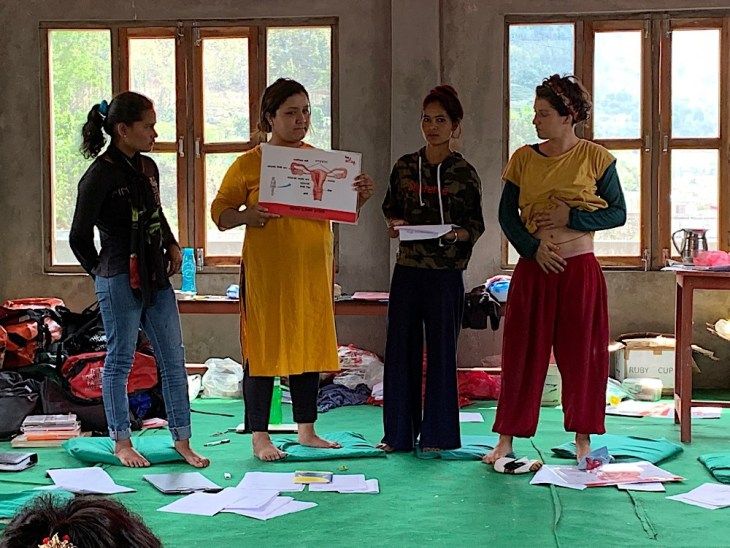 2019. Tejana, Raunika, Manisha N. and Bea, our menstrual therapist