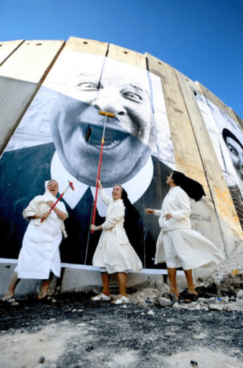 28 Millimeters, Dace 2 Face, Nuns in Action, Separation Waal, Secutity Fence, Palestinian Side, Bethlehem, 2007