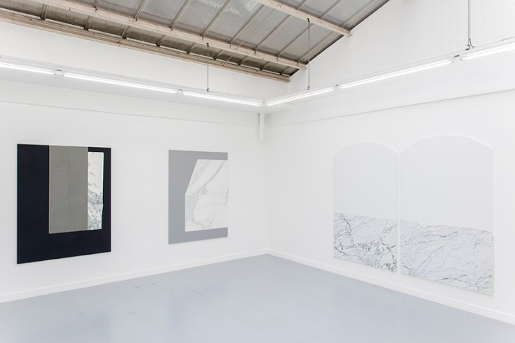 Sam Moyer, Slowly,, installation view, Galerie Rodolphe Janssen, Brussels