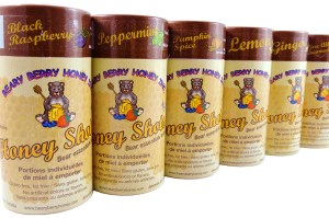 Beary Berry Honey Shots, individual honey packets perfect for tea, coffee or a quick, sweet snack.