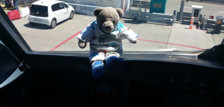 Me in the cockpit window
