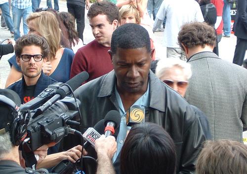 """24″ actor Dennis Haysbert talks to the media @ the WGA strike rally outside FOX Studios (Nov. 9, 2007)"