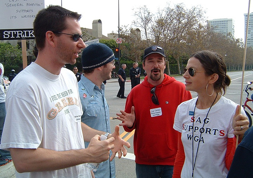 "My WGA strike captain, Aaron talking strike with ""Family Ties"" actress, Justine Bateman @ the WGA strike rally (Nov. 9, 2007)"
