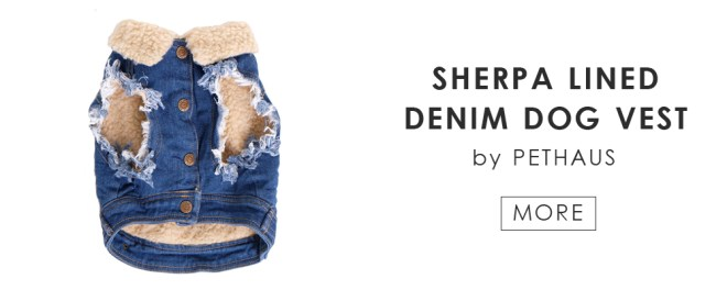 SHERPA LINED DENIM DOG BVEST by PETHAUS
