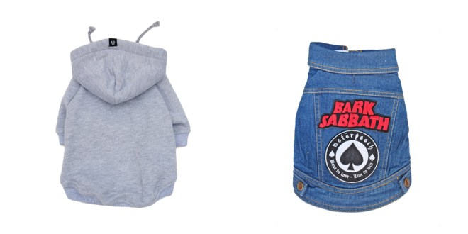 Rocky Balboa dog hoodie and Patched dog denim vest by Pethaus