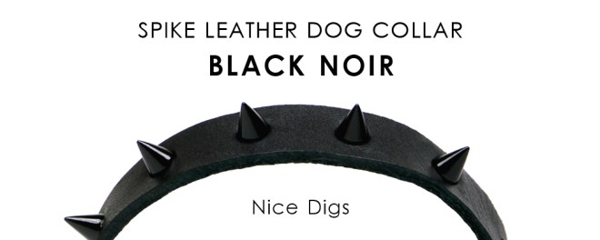 Nice digs - Spike leather dog collar Black noir