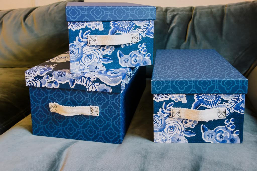 Navy floral storage boxes