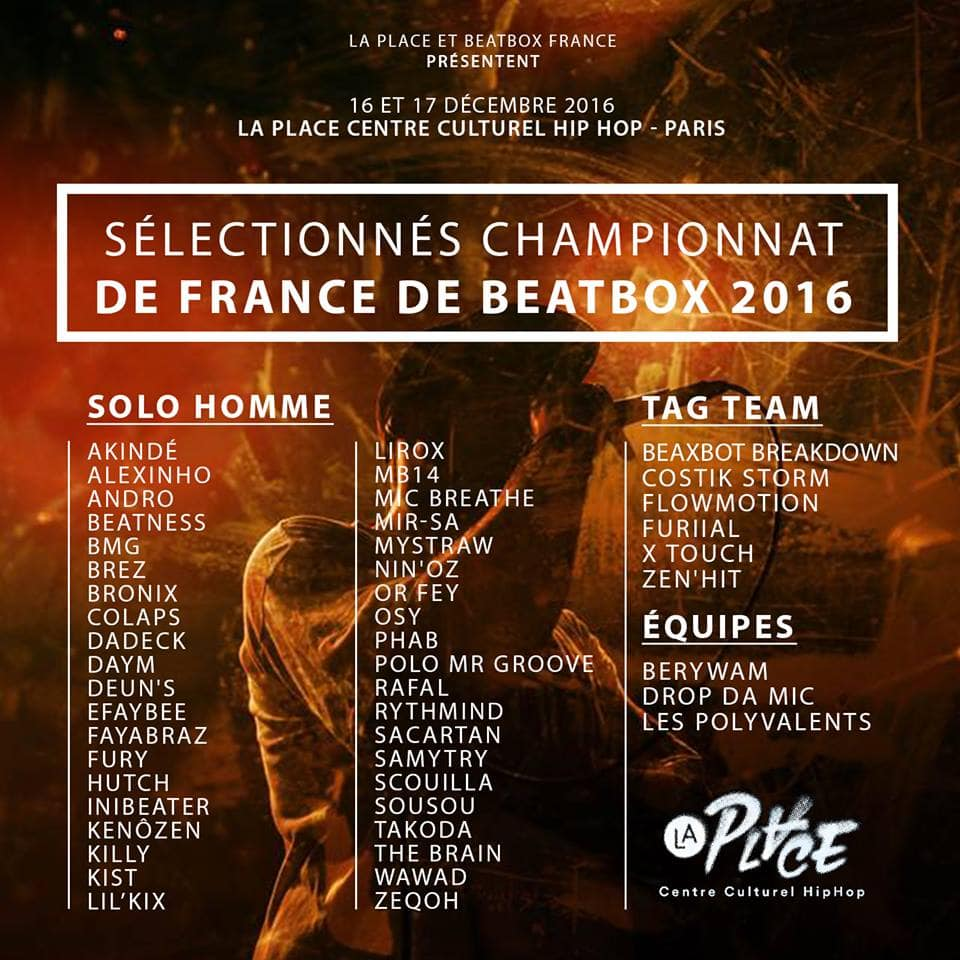 Liste des sélectionnés 2016