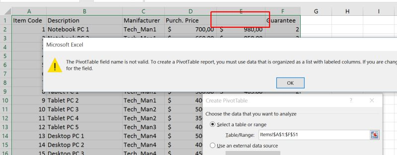 Pivot Table Field Name Is Not Valid - Beat Excel!