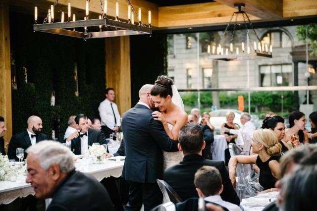 A bride and groom dance at a wedding held at Ristorante Beatrice.