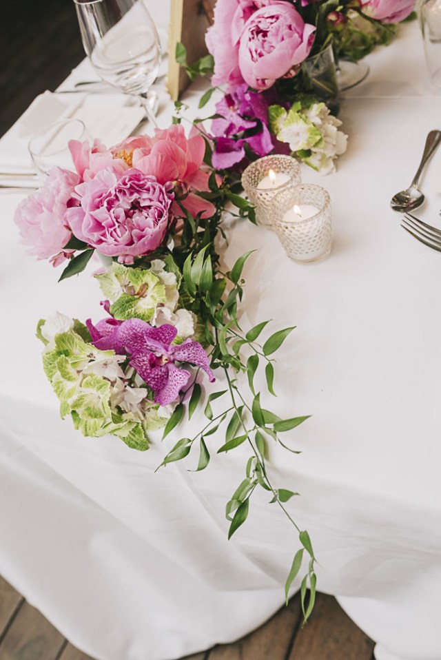 A floral arrangement from an event held at Ristorante Beatrice.