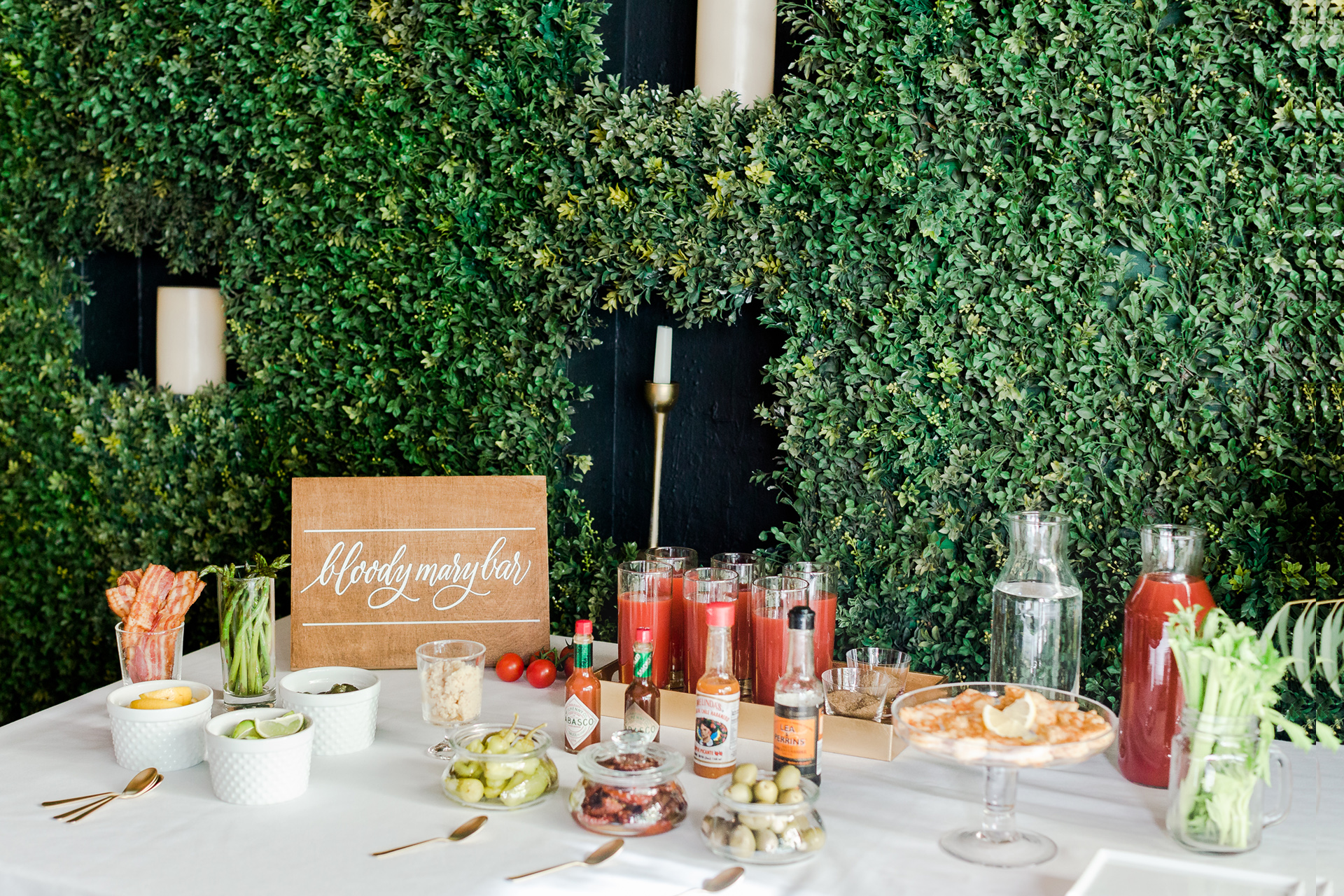 A bloody Mary bar at an event hosted by Ristorante Beatrice.