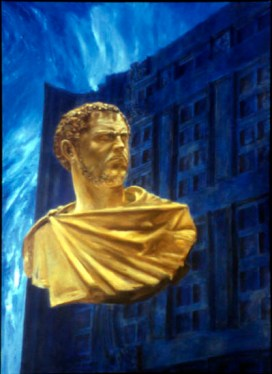 Blue Roman, 2000, Alkyd/canvas, 72 x 52″