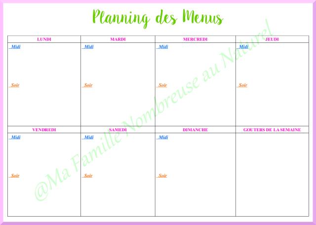 planifier ses menus / planning vierge des menus