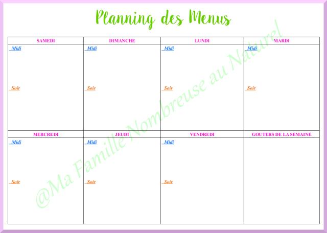 lanifier ses menus / planning vierge des menus
