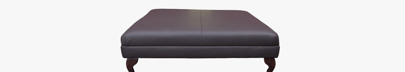 large footstool in a velluto aubergine purple velvet