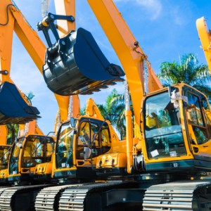 Vehicle fleet with construction machinery of building or mining company