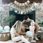 Wilder S First Birthday Party Diy Balloon Garland Tutorial Beaus And Ashley