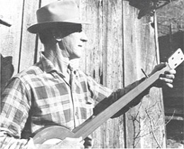 Frank Proffitt of N.C.playing one of his homemade frettless banjos