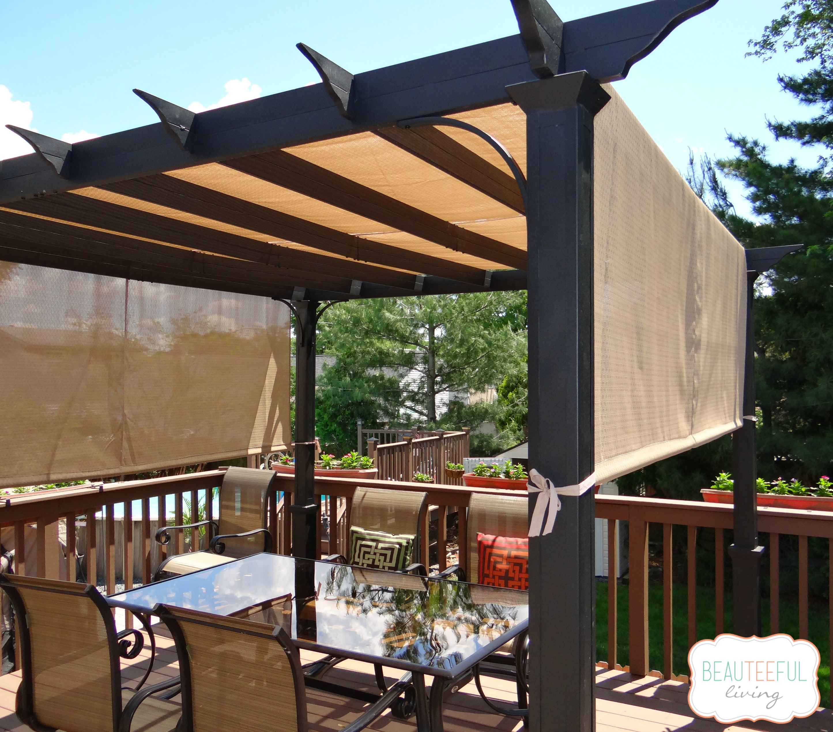 Our new pergola shade at last beauteeful living for Shade arbor designs