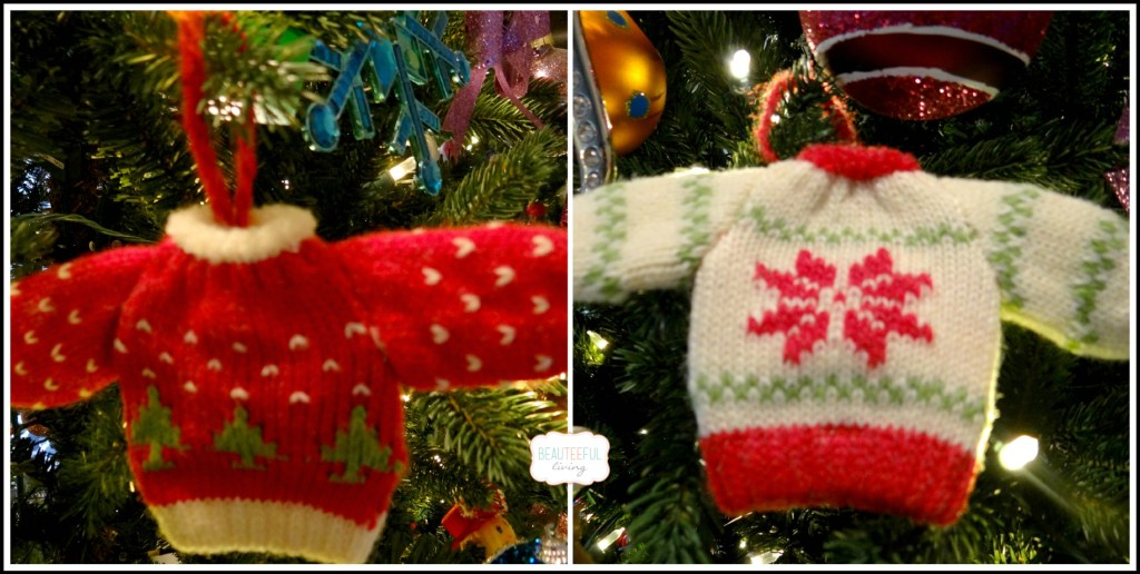 Ugly sweater ornaments