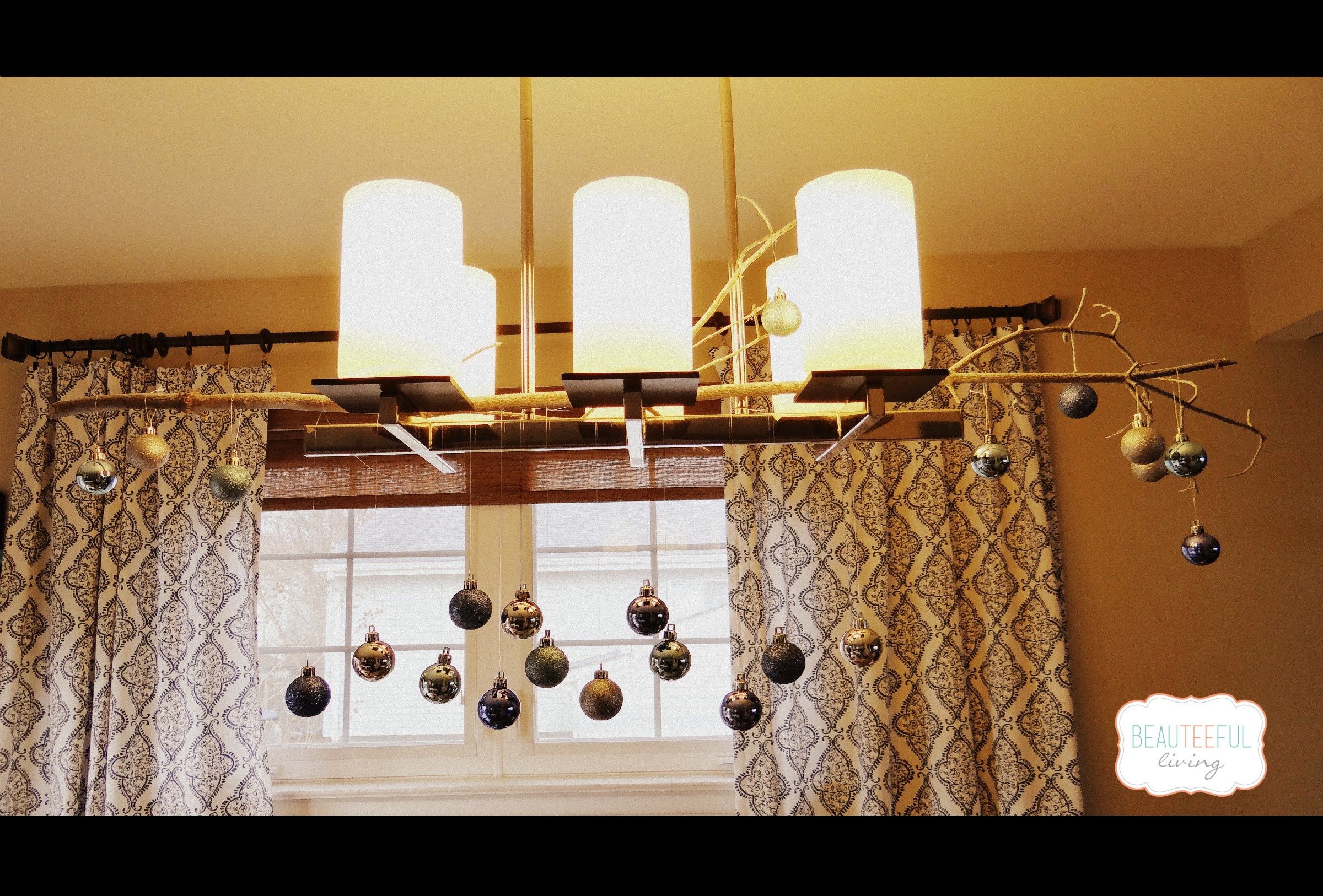 Diy ornament chandelier beauteeful living ormament chandelier diy mozeypictures Image collections