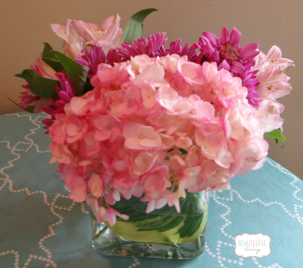 hydrangeas in square vase