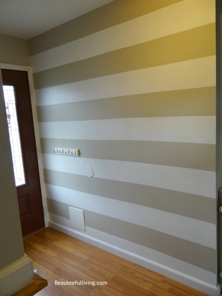 Foyer wall horizontal stripes completed